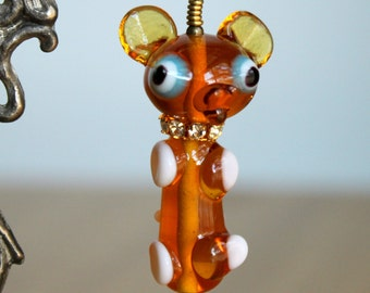 Cute Deer Pendant - Vintage Large 1950s Japanese Glass Adorable Funny Baby Deer Pendant