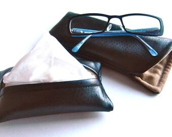 Mens Glasses Case, Pocket Tissue Cover, Faux Leather Sunglasses Case, Black and Tan, Glasses Holder, Eyeglass Case, Eye Glass Holder