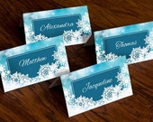 Print Your Own - Snowflake Place Cards - Christmas, Winter
