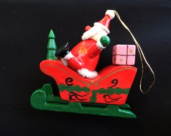 Vintage Hand Painted Christmas Ornament Santa Claus Sleigh Wooden Toy Christmas Tree OCJ