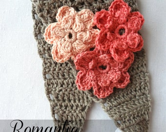 CROCHET PATTERN Romantic Flower Headband Crochet Pattern - crocheted headband,flower headband, photo tutorial, crocheted flowers, head scarf