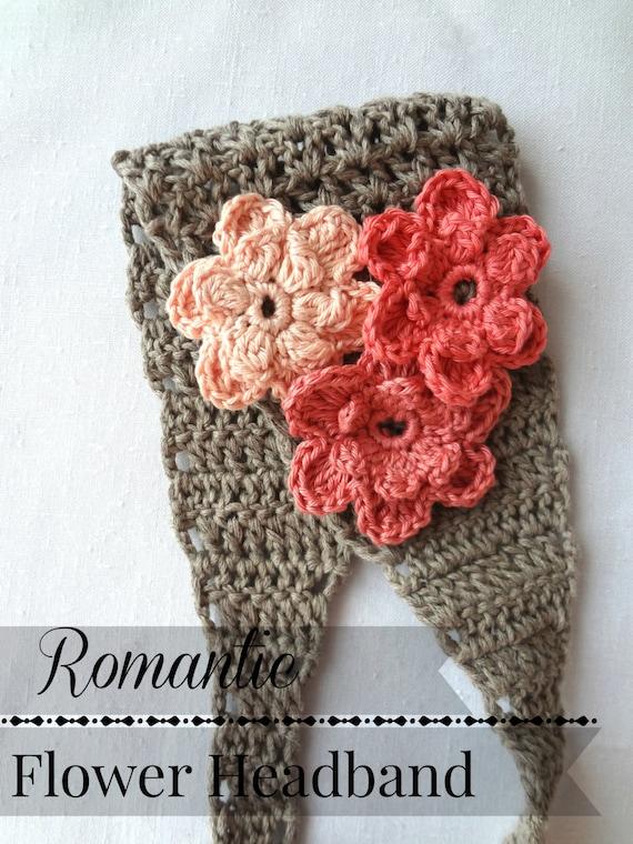 CROCHET PATTERN Romantic Flower Headband Crochet Pattern
