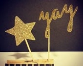 """Gold Sparkle """"Yay or Yes"""" & Star Cupcake Toppers"""