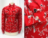 Red Vintage Bow Tie Blouse