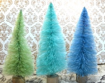 Bottle Brush Christmas Trees table decor Aqua Turquoise Spring Green Ocean Beach colors Set of 3 Easter