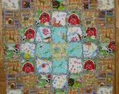 baby quilt blanket rag cotton flannel farm country animal boy girl infant nursery pig barn Old MacDonald cow horse duck unisex Ready to Ship