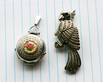 2 Locket Pendants - Parrot Watch & Photo Cluster