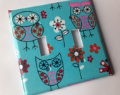 Blue Coral Owls Light Switch Plate Cover/ Double Light Switch Plate Cover/ Owl Nursery Decor/ Nursery Decor / Coral Aqua Decor / Turquoise