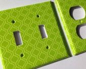 Lime Green Quatrefoil Double Light Switch Cover / Lime Green Bedroom Decor / Moroccan Decor / Lime Green Room Decor / Lattice / Trellis