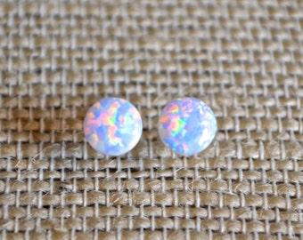 Tiny White Opal . Studs . Earrings