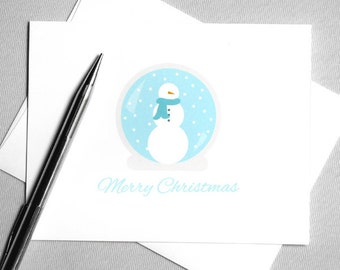 Printable Christmas Card. Holiday Card. Snowman Snow Globe. Merry Christmas. Instant Download. Digital Download Card. DIY Christmas Card.