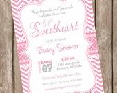Valentine's Day Baby Shower Invitation, pink, chevron, hearts, lil' sweetheart, printable invitation