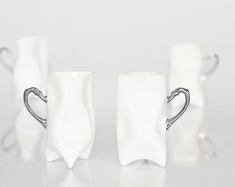 Ceramic porcelain cups set of four - white with silver, unique cups handmade for coffee or tea by Endesign