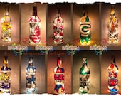 Sports Theme Bottle Light Upcycled Hand painted Lamp Made to Order - Pick your team!
