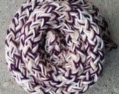 Scarf - Handknit Twisted and Garter Stitch ~ Wool and Acrylic ~ Purple, White and Tan - Thick, Fall and Winter Wear