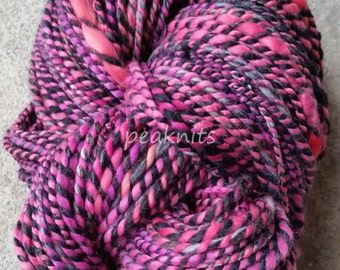 "Yarn - Handspun, ""Punk"", 8 wpi, 142 yards, Pink, Black, White and Gray 2 Ply Hand Dyed Merino Wool and Nylon, 8 ounces, Bulky, One of a Kind"