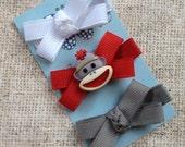 Mini Bow Hair Clip Trio-No Slip Hair Clip Set-Sock Monkey