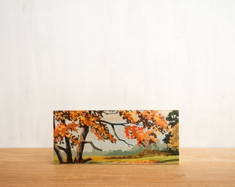 Paint by Number Art Block 'Autumn Scene' -  fall foliage, autumn color, vintage landscape