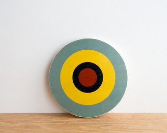 Target Circle Art Block - Aqua/Yellow/Navy/Red - bull's eye, vintage look, colorway #2