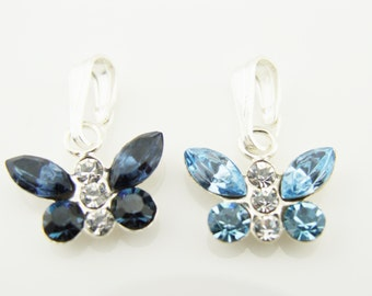 Swarovski Crystal Navy Blue Butterfly Sterling Silver Necklace