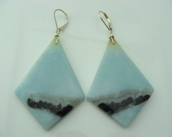 Extra Large Amazonite Sterling Silver Leverback Earrings