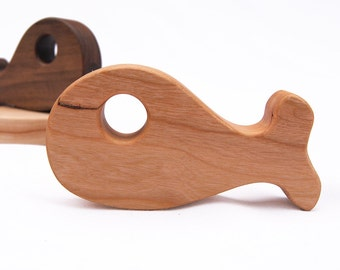 Whale Shaped Wood Rattle // An Eco-Friendly Safe Baby Toy & Teether // Natural Wood Rattle Makes the Perfect Personalized Baby Shower Gift
