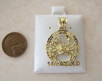 Vintage Solid 14k karat Gold Zodiac Cancer Sign Pendant