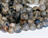 Half Strand 4mm Faceted Black Dragon Vein Agate Round Gemstone Beads - 45 beads