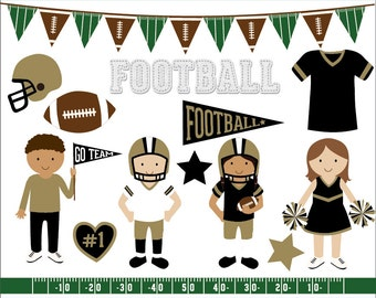 Black and gold football clip art images, sports clipart, football vector, royalty free clip art- Instant Download