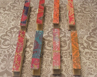 Set of 8 Decoupaged Glittered Clothes Pins - Bali Set - Shabby Chic, French Country, Rustic, Beach, Chippy Cottage, Wedding