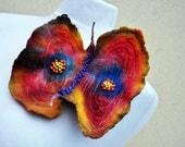 Felted brooch, flower, brooch, felt, nuno felt, blue, red, yellow, brown, orange, butterfly