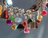 Mix Colored Glass Beaded Silver Chain Dangle Bracelet