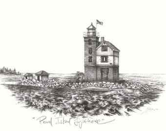 Vintage Look 5x7 Fine Art Print- Round Island Lighthouse- Northern Michigan