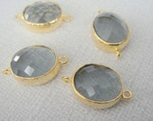 Jewelry Making Supplies, Gold  Gray  Pendant, Light black Glass Stone connector,  Gemstone Bead Pendant with two loops, 2 pc