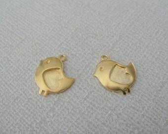 Wholesale Jewelry Supplies, Matte Silver tarnish resistant Chick Bird Charms, Small Bluebird connectors, pendants, 2 pc LP82907