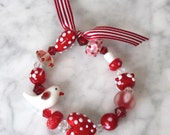 Red and White Glass Charm Bracelet - perfect little gift