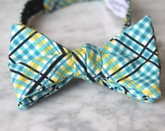 Men's Bow Tie in Turquoise Complex Plaid - Self tying, pre-tied adjustable strap or clip on - Groomsmen attire