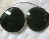 Antique Folding Sunglasses, Silver Frames, Sprung Metal, Fits on Glasses 1900's, Original Leather Pouch, Excellent Condi