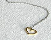 Gold Heart Charm Necklace, tiny small classic love romance pendant vermeil simple minimalist everyday teens girls women anniversary