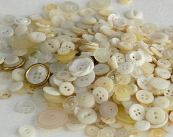 White vintage button lot,  50 count ceramic china shell plastic ivory off-white cream mix craft sewing jewelry making clearance sale