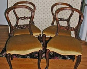 Set of 4 Victorian Carved Mahogany Balloon Back Side or Dining Chairs in Great Condition
