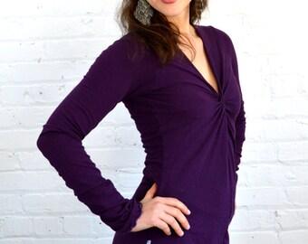 XS Longsleeve Twist Front Shirt in Plum Extra Small Purple