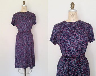 Robin's Song Dress / Vintage 1960s Rayon Dress / Blue Country Floral / Day Dress / Medium Large