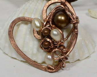 Wire Wrapped Pendant  Pear Pendant Wired Copper Jewelry Heart Wire Wrapped Pendant Freshwater Pearl Jewelry