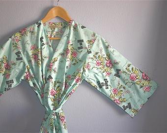 Bridesmaids Robe. Kimono Robe. Dressing Gown. Kimono. Bridal Robe. Joie De Vivre. Knee & Mid Calf Length. Small thru Plus Size Kimono Robe.