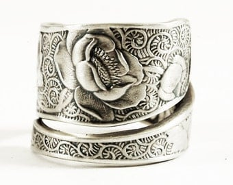 Victorian Rose Ring, Silver Rose, Sterling Silver Spoon Ring, Unique Gift for Her, Handmade Eco Friendly, Garden, Adjustable Ring Size (553)