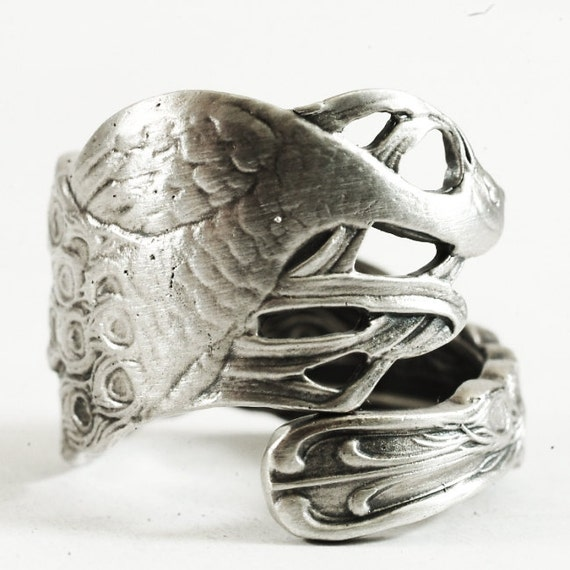 unique peacock sterling silver spoon ring in by spoonier