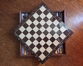 Vintage French Wooden Chess Draughts Game / English Shop