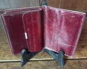 Vintage French Blood Red Wallet Purse with Plastic Inserts / Non Leather / English Shop