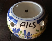 Vintage French ails garlic pot container storage jar circa 1970s / English Shop